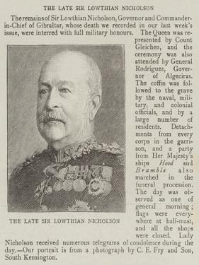 The Late Sir Lowthian Nicholson