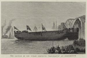 The Launch of Hm Steam Corvette Bacchante at Portsmouth