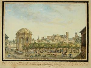 The little court in Mainz with the Sebastian chapel and the ruin of the Jesuit Church, 1824