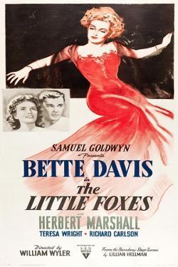 THE LITTLE FOXES, l-r: Teresa Wright, Herbert Marshall, Bette Davis on poster art, 1941