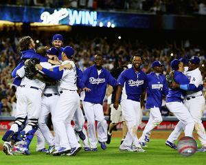 The Los Angeles Dodgers celebrate winning the 2014 National League West Division
