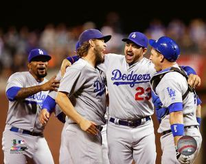 The Los Angeles Dodgers celebrate winning the 2015 National League West Division