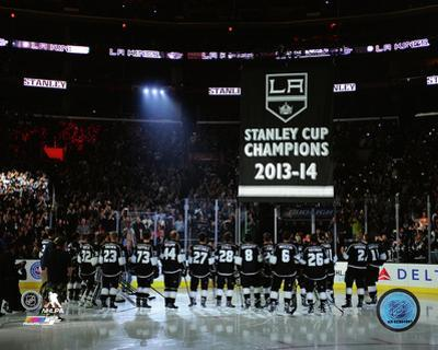 The Los Angeles Kings raise their 2013-14 Stanley Cup Championship Banner