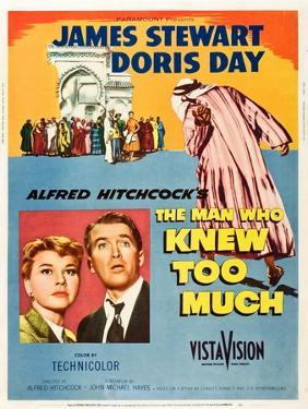 THE MAN WHO KNEW TOO MUCH, on left, from left: Doris Day, James Stewart; 1-sheet poster, 1956.