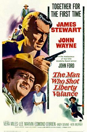 The Man Who Shot Liberty Valance, James Stewart, John Wayne, Vera Miles, 1962