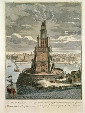 The Marble Watch Tower or Lighthouse Erected by Ptolemy Soter on the Island of Pharos, Near the…