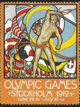 The March Of the Nations, Each Athlete Waving a Flag. Sweden 1912 Olympic Games Poster Stamp