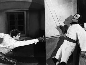 THE MARK OF ZORRO, 1940 directed by ROUBEN MAMOULIAN Tyrone Power and Basil Rathbone (b/w photo)