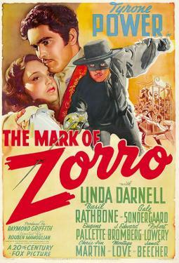 The Mark of Zorro, Linda Darnell, Tyrone Power on Argentinian Poster Art, 1940