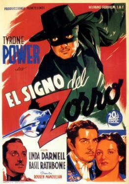 The Mark of Zorro, Spanish Movie Poster, 1940