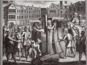 The Martyrdom of Mr John Bradford and John Leaf in Smithfield, Illustration from 'Foxes Martyrs'…