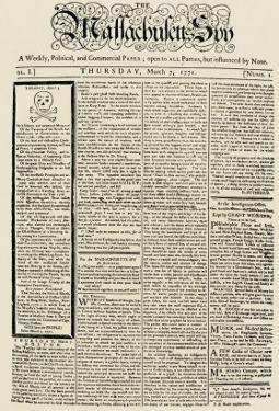 The Massachusetts Spy Newspaper, on the First Anniversary of the Boston Massacre, c.1771