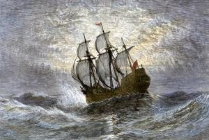 The Mayflower Bringing the First Colonists to Massachusetts