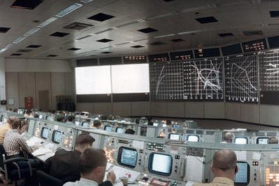 The Mission Operations Control Room in Mission Control Centre, Houston, Texas, USA, 1971