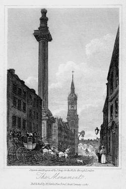 The Monument, City of London, 1817 by J Greig