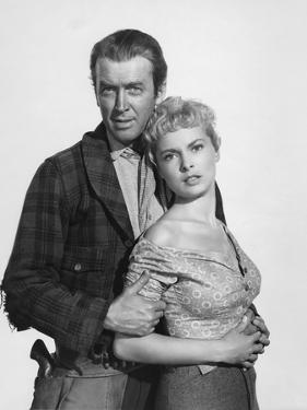THE NAKED SPUR, 1953 directed by ANTHONY MANN James Stewart and Janet Leigh (b/w photo)