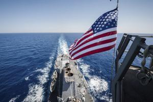 The National Ensign Flies from the Mast Aboard USS Stockdale