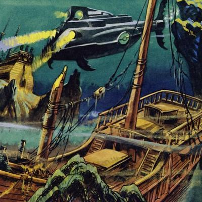 The Nautilus Passed over the Wrecked Hulks of Two French Galleons
