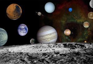 The New Solar System Planets Jupiter Moons Rosette Nebula Space Art Poster Print