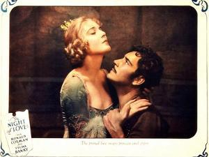 THE NIGHT OF LOVE, l-r: Vilma Banky, Ronald Colman on lobbycard, 1927