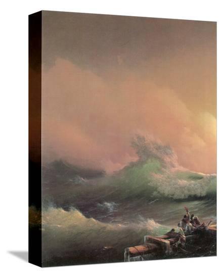 The Ninth Wave (left detail)-Iwan Konstantinowitsch Aiwasowskij-Stretched Canvas Print