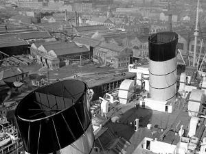 The Ocean Liner Queen Mary Berthed at Clydebank Docks, 1938