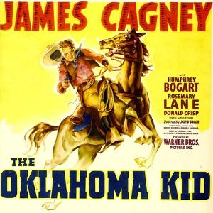 THE OKLAHOMA KID, James Cagney on window card, 1939.