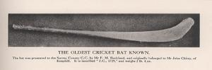 The oldest cricket bat known, 1912