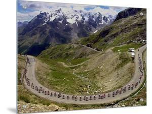 The Pack Climbs the Galibier Pass During the 15th Stage of the Tour De France