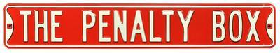 The Penalty Box Steel Street Sign - Red/White