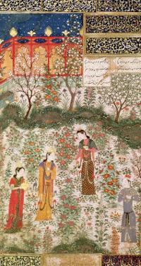 The Persian Prince Humay Meeting the Chinese Princess Humayun in a Garden, circa 1450