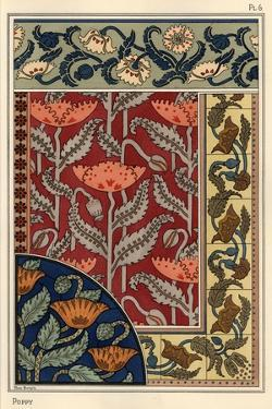 The poppy, Papaver somniferum, in stained glass, wallpaper, fabric and tile patterns.