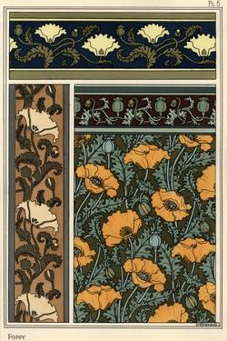 The poppy, Papaver somniferum, in wallpaper and fabric patterns. Lithograph by Verneuil.