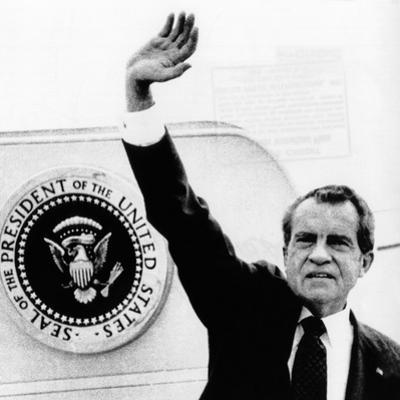 The Presidental Seal at Shoulder for Last Time, Pres Richard Nixon Exits Washington, Aug 9, 1974