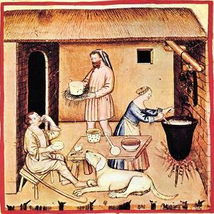 The Production of Cheese. a Miniature from Tacuinum Sanitatis, Second Half of 14th C