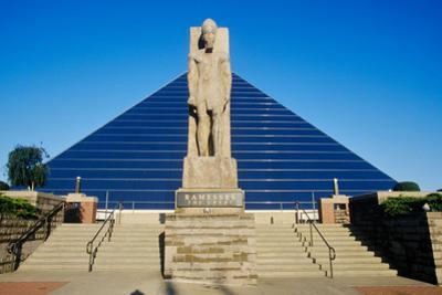 The Pyramid Sports Arena in Memphis, TN with statue of Ramses at entrance