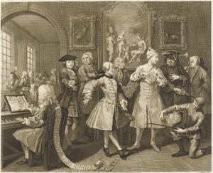The Rake's Progress, Hogarth's Rake Surrounded by Flattering Artists and Professors