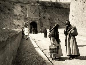 The Ramp Which Leads to the Old City in Ibiza, with Two Women in the Foreground