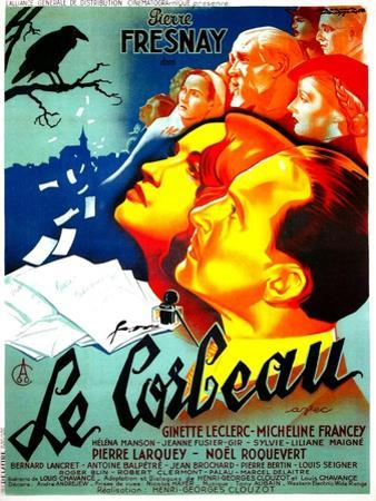 THE RAVEN, (aka LE CORBEAU),  French poster, center: Micheline Francey, Pierre Fresnay, 1943
