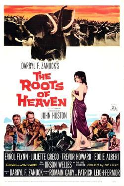 The Roots of Heaven, from Left: Eddie Albert, Trevor Howard, Juliette Greco, Errol Flynn, 1958