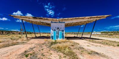 """The ruined remains of a gas station near Utah Colorado border - """"Service Station"""" - Midcentury A..."""