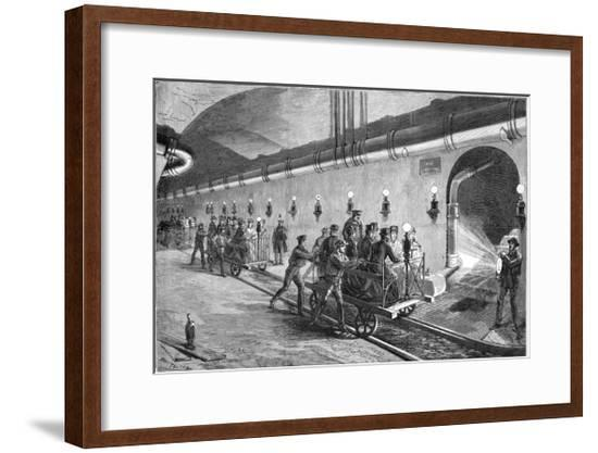 The Sewers of Paris - the Wagon Illustration by Jules Pelcoq-Stefano Bianchetti-Framed Giclee Print
