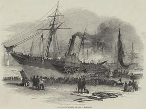 The Shannon Steamer on Fire at Plymouth
