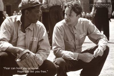 The Shawshank Redemption Movie (Tim Robbins and Morgan Freeman, B&W) Poster Print