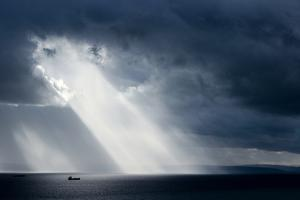 The Ship on the Sea after Stormy Weather, Dramatic Sky with Clouds