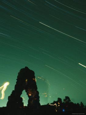 The Silhouette of Knapps Castle during a Meteor Shower