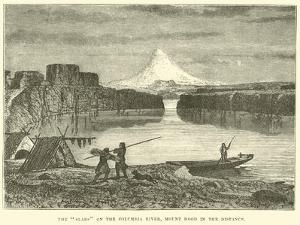 """The """"Slabs"""" on the Columbia River, Mount Hood in the Distance"""
