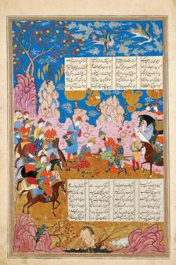 The Slaying of Siyawush (Manuscript Illumination from the Epic Shahname by Ferdows)