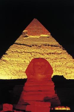 The Sphinx of Giza and Pyramid of Khafre at Night, Giza Necropolis