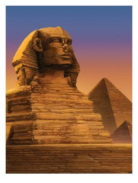 The Sphinx with the Pyramids of Giza in the Background
